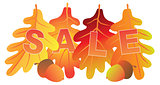 Sale Text on Fall Colors Oak Leaves