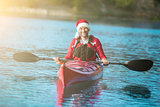 santa kayaking