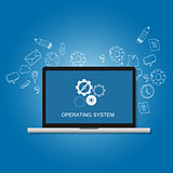 os operating system software computer laptop screen gear icon concept