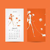 Calendar 2016 grid. Fashion girls design