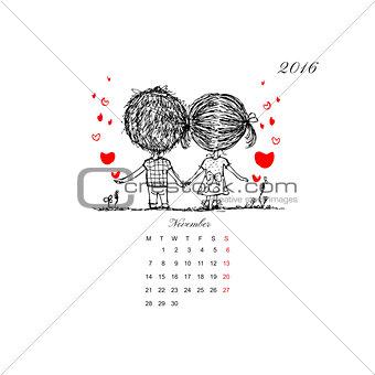 Calendar grid 2016 design. Couple in love together
