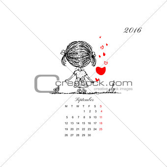 Calendar grid 2016 design. Couple in love together