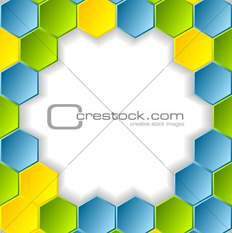 Abstract bright hexagons pattern design