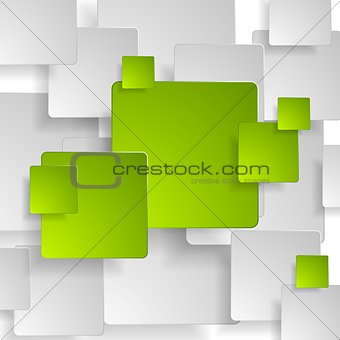 Abstract green grey squares tech background