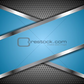Abstract blue background with metallic design