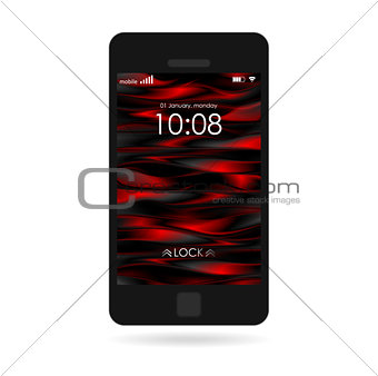 Black smartphone with striped wallpaper isolated on white