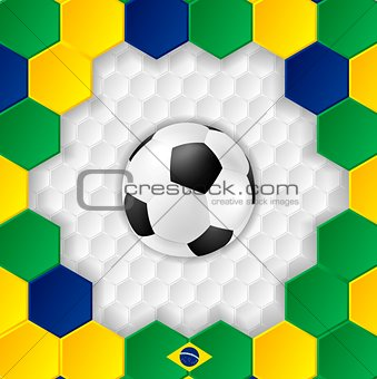 Bright soccer background with ball. Brazilian colors