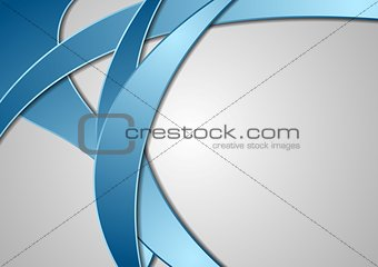 Abstract blue corporate waves on grey background