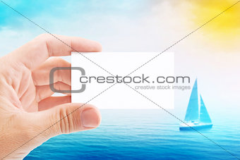 Tourist Agent With Blank Visiting Business Card