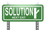 Solution green sign board isolated