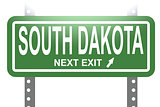 South Dakota green sign board isolated