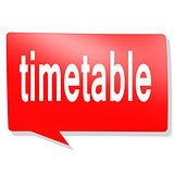 Timetable word on red speech bubble