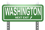 Washington green sign board isolated