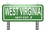 West Virginia green sign board isolated