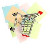 Shopping cart on stickers, top view