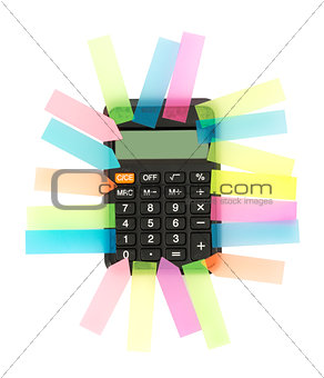 Calculator with colorful stickers