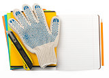 Copybooks with gloves