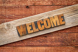 welcome sign in wood type