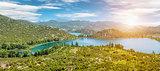 Panoramic view of Bacinska lake in Croatia