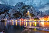 Old coastal town Omis in Croatia at night