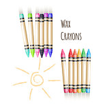 Colorful background with fence from wax pencils