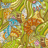 Green Pattern with Owl in the Forest