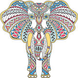 vector color decorated Indian Elephant
