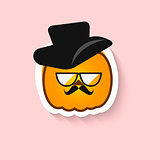 Pumpkin hipster big glasses and hat