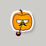 Pumpkin hipster big glasses and Smoking pipe