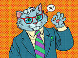Cat businessman OK gesture