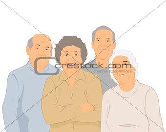 Four elderly people