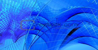 Blue abstract waves on a blue background