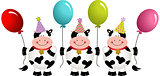 Birthday cows with balloons