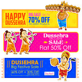 Happy Dussehra banner with Rama, Laxmana, Hanuman and Ravana