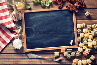 chalkboard and italian food ingredients