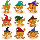 Gesticulating funny pumpkins in hats
