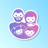 Family label with parents and children