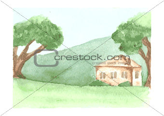 Beautiful watercolor landscape with country house