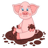 Cute pig in a puddle, funny piggy sits