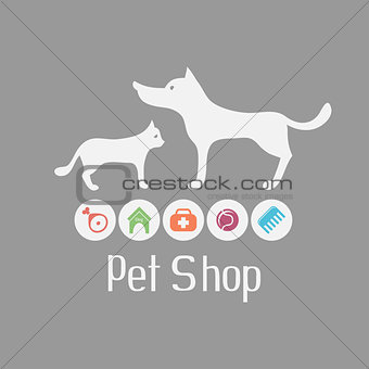 Cat and dog sign for pet shop logo and what they needs