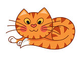 Cartoon plump kitty, vector illustration of red striped cat