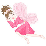 Cute fairy in bright pink dress is sleeping