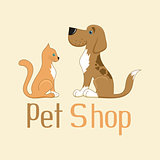 Cute cartoon cat and dog sign for pet shop logo