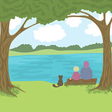 Beautiful landscape with grandmother, grandson and cat sitting on log, admire a nature