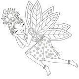 Cute fairy in dress with wings is sleeping, coloring book