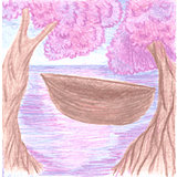 Lilac beautiful landscape with river, boat and trees