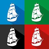 Vintage Ship Logo Sailing Boat