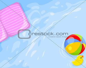 Water, mattress, ball, duck