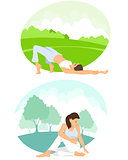 Girls practicing yoga