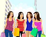 Four girls shopping